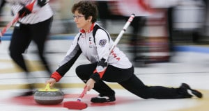 Team Canada lead Cheryl Hall delivers her rock at the 2016 World Seniors Curling Championships in Karlstad, Sweden (WCF/Céline Stucki photo)