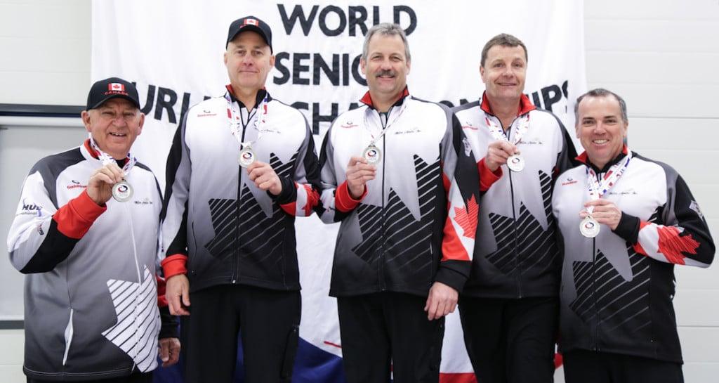 (From left to right) Coach Bill Tschirhart, skip Randy Neufeld, third Dean Moxham, second/vice Peter Nicholls, lead Dale Michie: Silver medallists at the 2016 World Senior Men's Curling Championship in Karlstad, Sweden (WCF/Céline Stucki)