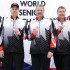 (From left to right) Coach Bill Tschirhart, skip Randy Neufeld, third Dean Moxham, second/vice Peter Nicholls, lead Dale Michie: Silver medallists at the 2016 World Senior Men's Curling Championship in Karlstad, Sweden (WCF/Céline Stucki)