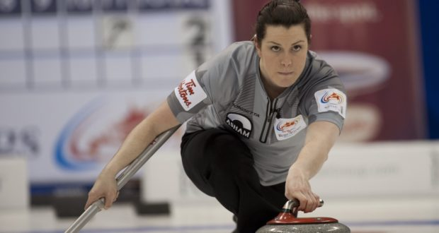 Dana Ferguson, second on Team Sweeting, in action at the 2013 Tim Hortons Roar of the Rings in Winnipeg, Man. (Curling Canada/Michael Burns photo)