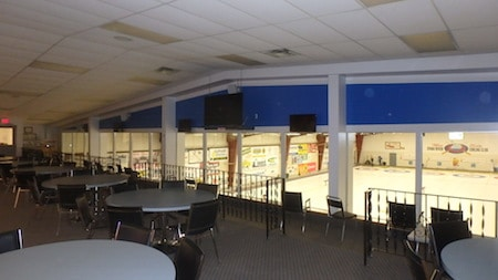 The viewing lounge at the Swan River Curling Club.