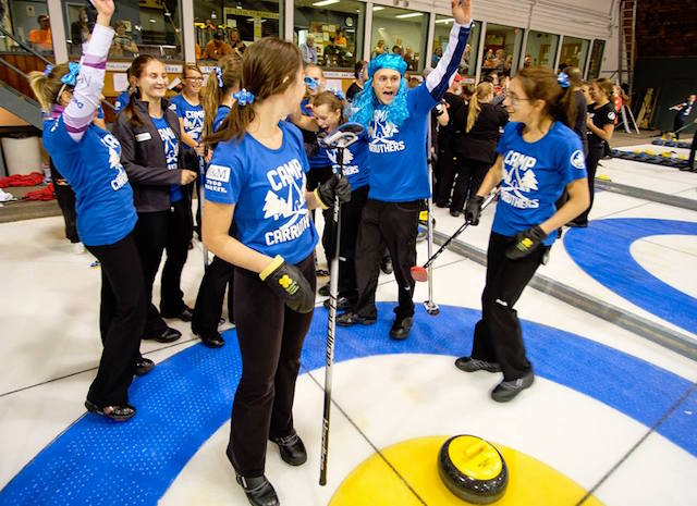 Celebration by the Blue Team during competition at Camp Carruthers (Photo courtesy of Reid Carruthers)