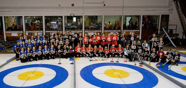 Participants of Reid Carruthers' curling camp gather on the ice at the St. Vital Curling Club in Winnipeg (Photo courtesy Reid Carruthers)