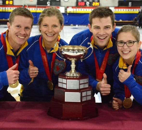Team Canada, from left, skip Mick Lizmore, vice-skip Sarah Wilkes, second Brad Thiessen, lead Alison Kotylak. (Photo, Curling Canada/Sonja DiMarco)