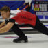Canadian second Brad Thiessen delivers his rock during action at the 2016 World Mixed Curling Championship in Kazan, Russia (Photo World Curling Federation/Alina Androsova)
