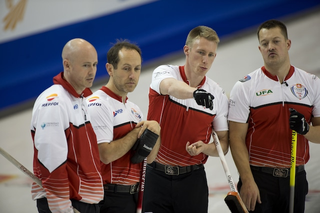 Grande Prarie AB, Dec 3, 2015, Home Hardware Canada Cup Curling, Team Koe skip Kevin Koe, second Brent Laing, third Marc Kennedy, lead Ben Hebert, Curling Canada / michael burns photo