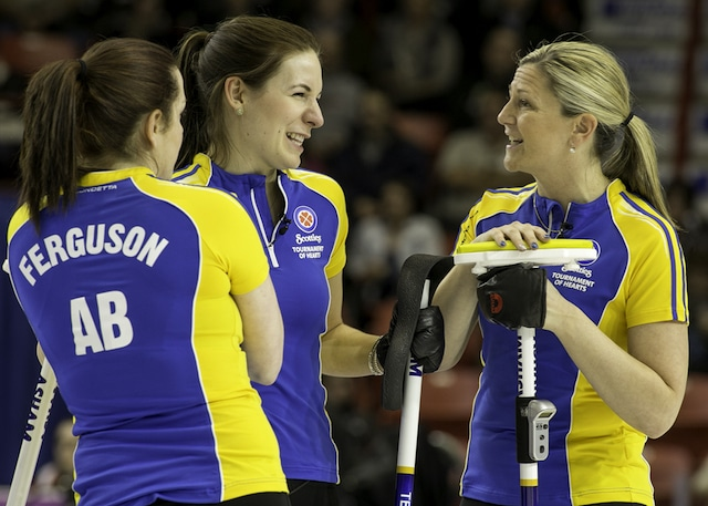 Team Alberta, Skip Val Sweeting, Third Lori Olson-Johns, Second Dana Ferguson, Lead Rachelle Brown, Alternate, Sarah Wilkes, Coach, Garry Coderre the 2015 Scotties Tournament of Hearts, the Canadian Womens Curling Championships, Moose Jaw, Saskatchewan