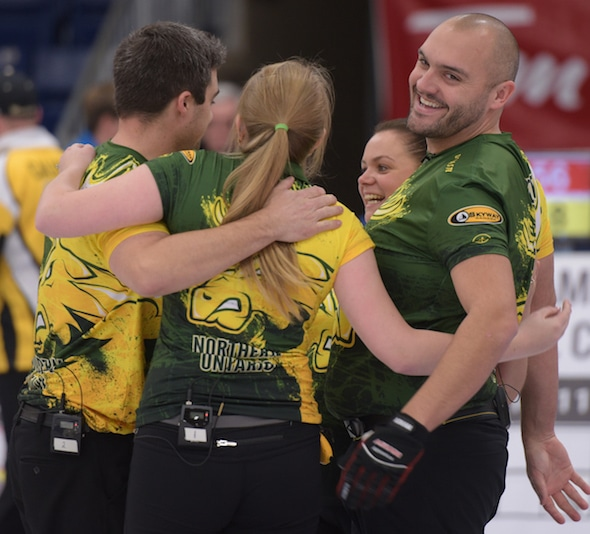 Team Northern Ontario celebrates its gold medal on Saturday at the 2017 Canadian Mixed Curling Championship. (Photo, Curling Canada/Clifton Saulnier)