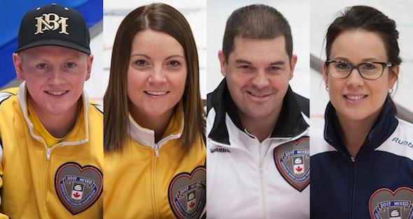 2017 Championnat canadien de curling mixte All-Stars, à gauche, capitaine Braden Calvert (Manitoba), vice-capitaine Kerri Einarson (Manitoba), deuxième Jake Higgs (Ontario), Teri Udle (Nouvelle-Écosse). (Photos, Curling Canada / Clifton Saulnier)