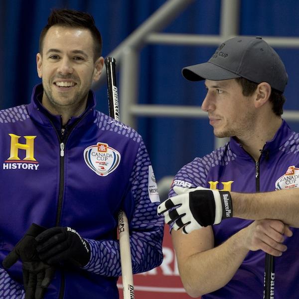 Grande Prarie AB, Dec 3, 2015, Home Hardware Canada Cup Curling, Team Epping, (L) skip John Epping, third Matt Camm, Curling Canada/ michael burns photo