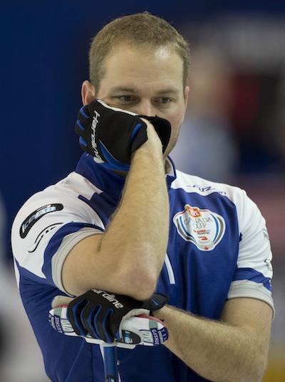 Cheez Whiz buddy, Geoff Walker, of Team Brad Gushue (Curling Canada/Michael Burns photo)