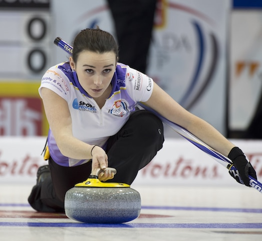 Team Rocque second, Taylor McDonald (Curling Canada/Michael Burns photo)