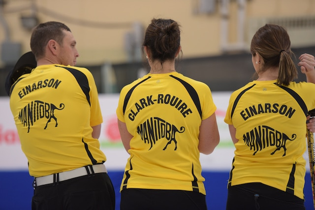 Jacob Hersikorn and Krista Fesser of Saskatchewan guide a rock down the ice during action at the 2017 Canadian Mixed Curling Championship in Yarmouth, N.S. (Curling Canada/Clifton Saulnier photo)