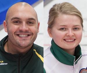 Les gagnants des prix de l'esprit sportif Trevor Bonot (Nord de l'Ontario) et Veronica Smith (P.E.I.)