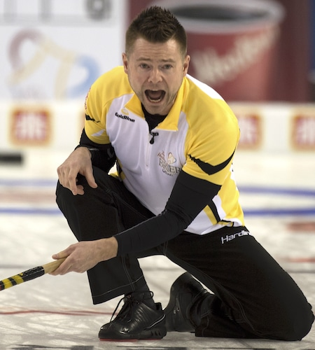 Ottawa Ont.Mar 7, 2016.Tim Hortons Brier.Manitoba skip Mike McEwen shouts to his front end during his draw 7 evening draw against Alberta. michael burns photo