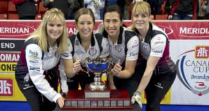 Brandon MB,December 4, 2016.Home Hardware Canada Cup of Curling.Team Jones,skip Jennifer Jones, third Kaitlyn Lawes,second Jill Officer,lead Dawn McEwen. Curling Canada/michael burns photo
