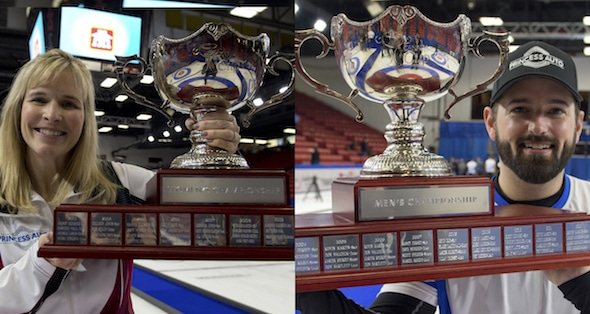Teams skipped by Jennifer Jones, left, and Reid Carruthers have earned berths into the 2017 World Financial Group Continental Cup, presented by Boyd Gaming. (Photos, Curling Canada/Michael Burns)