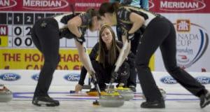 Brandon MB,November 30, 2016.Home Hardware Canada Cup of Curling.Team Homan, skip Rachel Homan, lead Lisa Weagle, third Emma Miskew.Curling Canada/michael burns photo