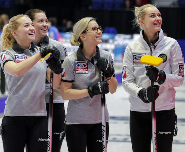 russia sweden top standings  ford world womens curling championship curling canada