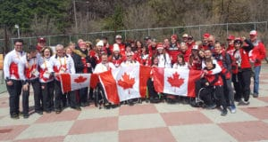 Canada celebrated with friends and family following their bronze medal win (photo: Brian Chick - Curling Canada)