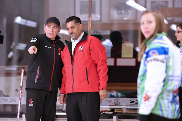 The Honourable Bal Gosal, Minister of State (Sport) Gives Curling a Try
