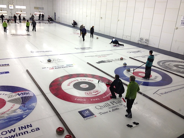 Curlers in Wadena quickly got used to the advertising in the rings (Photo Scott Comfort)