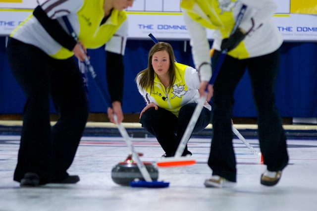 Stacey Fordyce watches her sweepers in the final of The Dominion Curling Club Championship in Thunder Bay, Ont. (Photo Anil Mungal)