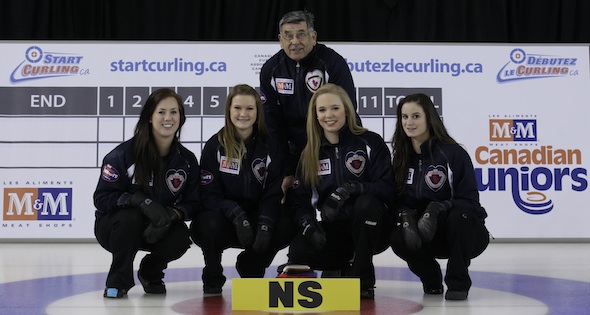 Team Nova Scotia at the M&M Meat Shops Canadian Junior Curling Championship in Fort McMurray, Alta., last season. (CCA Photo)