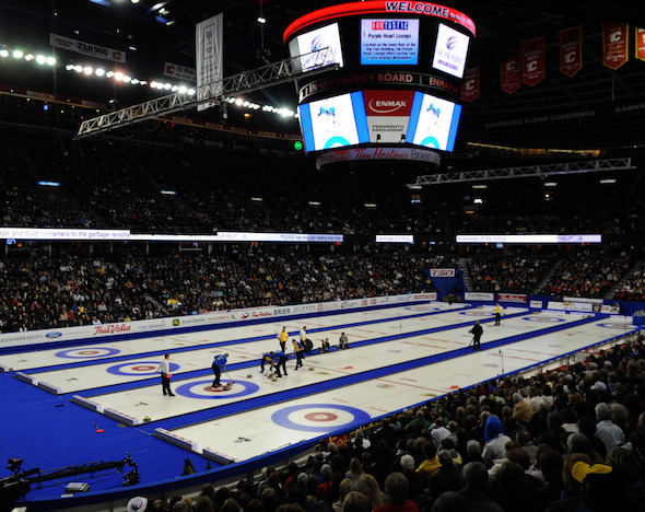 The Tim Hortons Brier is headed back to the Scotiabank Saddledome in Calgary. (Photo, CCA/Michael Burns)