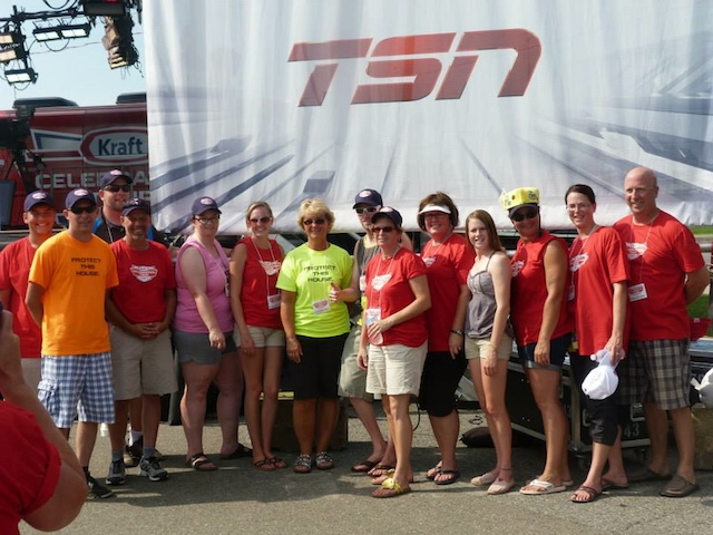 Kraft Celebration Tour committee members gather on the day of the TSN SportsCentre broadcast (Photo Fort Frances Curling Club)