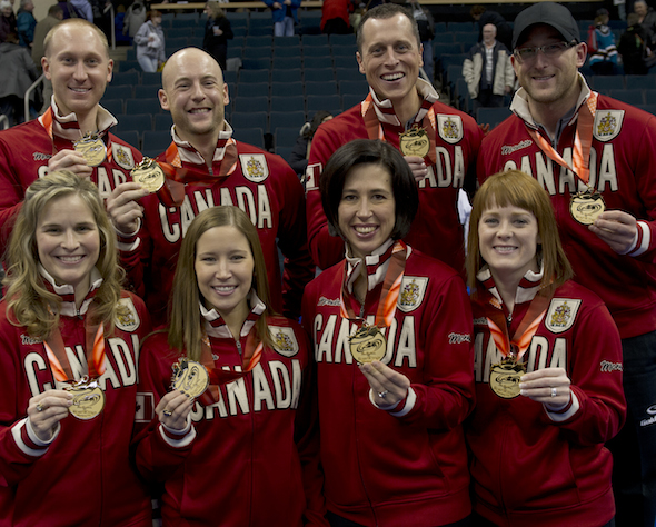 Winnipeg Mb.Tim Hortons Roar of the Rings 2013.skip Brad Jacobs,third Ryan Fry,second E.J.Harnden,lead Ryan Harnden.(Back Row)skip Jennifer Jones,third Kaitlyn Lawes,second Jill Officer,lead Dawn McEwen.(Front Row) CCA/michael burns photo