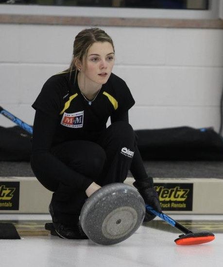 Cathlia Ward gets ready to throw her rock at the 2013 M&M Meat Shops Canadian Junior Curling Championships in Fort McMurray, Alta.