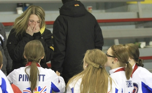 At the 2013 junior nationals in Fort McMurray, Alta., gold medallists Team British Columbia asked New Brunswick's Cathlia Ward to be their fifth player at the 2013 world championships in Sochi. Her reaction says it all! (Photo courtesy C. Ward)