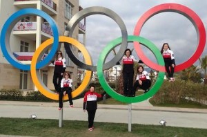 One of the more popular places to pose for a picture in the Athletes' Village!
