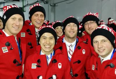 Opening ceremonies night — that's us with Patrick Chan!