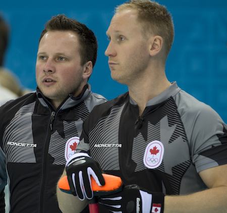 Alternate Caleb Flaxey and skip Brad Jacobs. (Photo, CCA/Michael Burns)