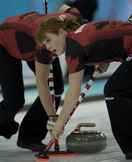 Dawn McEwen, right, and Jill Officer sweep a Canadian rock on Monday. (Photo, CCA/Michael Burns)