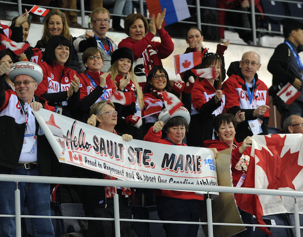 Fans from the Soo were well-represented on Monday morning in Sochi. (Photo, CCA/Michael Burns Photography)