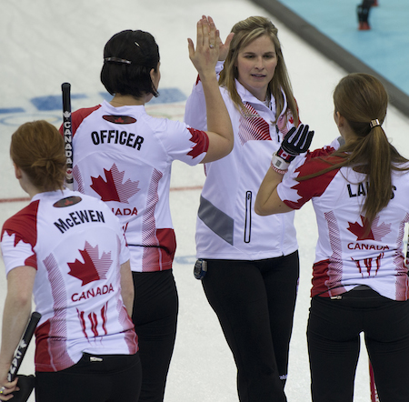 Team Canada celebrates its fifth consecutive win on Thursday. (Photo, CCA/Michael Burns)