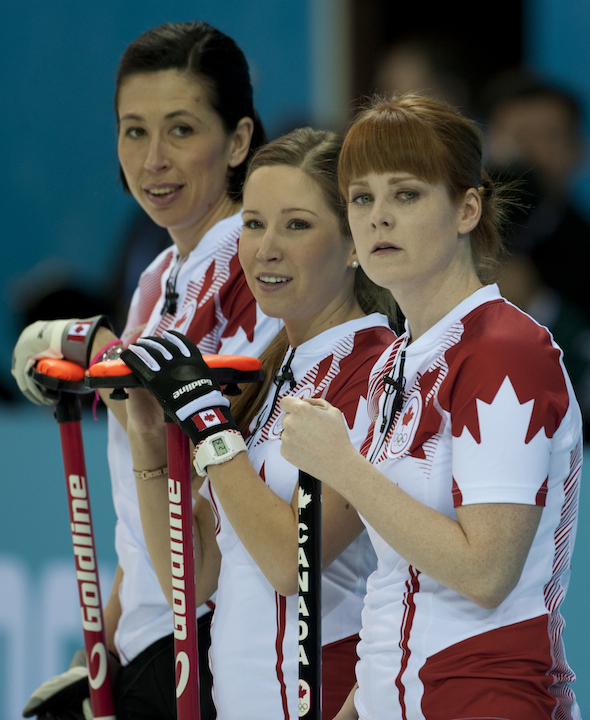 Jill Officer, Kaitlyn Lawes and Dawn McEwen check out the situation in Monday's win over China. (Photo, CCA/Michael Burns Photography)