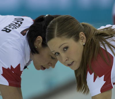 Team Canada's Jill Officer, left, and Kaitlyn Lawes. (Photo, CCA/Michael Burns)