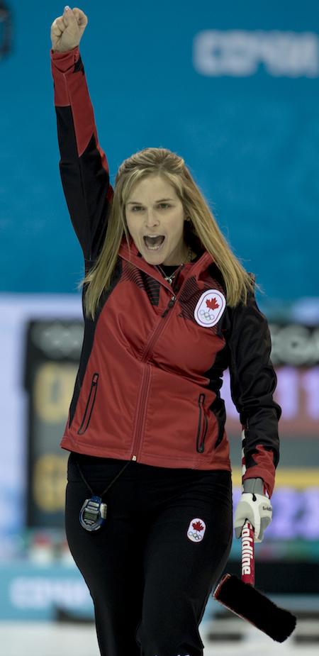 Team Canada skip Jennifer Jones celebrates one of her shots during Wednesday's win over Great Britain. (Photo, CCA/Michael Burns)