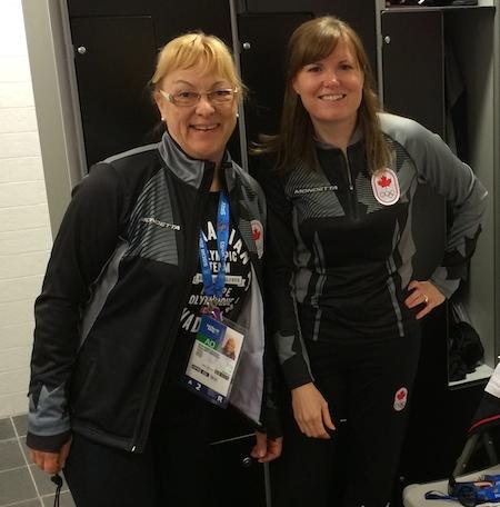Équipe Canada l'entraîneur national des femmes Elaine Dagg-Jackson, à gauche, et autre Kirsten Wall.