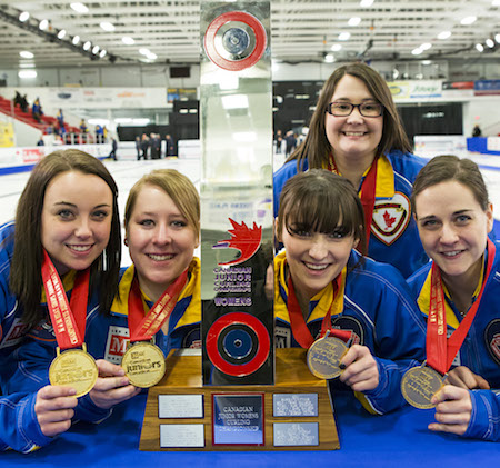 The Canadian junior women's team, from left,Kelsey Rocque, Keely Brown, Taylor McDonald, coach Amanda-Dawn Coderre, Claire Tully. Missing, alternate Alison Kotylak and team leader Andrea Ronneback. (Photo, CCA/Mark O'Neill)