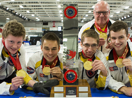 The Canadian junior men's team, from left, Braden Calvert, Kyle Kurz, Lucas Van Den Bosch, coach Tom Clasper, Brendan Wilson. Missing, alternate Matt Dunstone, team leader Garry Coderre.