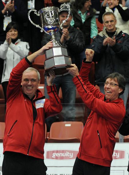 Capitaine Neil Harrison et l'entraîneur Rick Lang tiennent en haut le trophée de la Coupe continentale WFG ils ont gagné en 2011. (Photo, ACC / Michael Burns)
