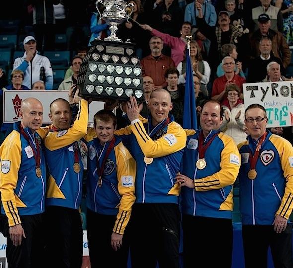 Team Canada, from left, Kevin Koe, Pat Simmons, Carter Rycroft, Nolan Thiessen, Jamie King and John Dunn. (Photo, CCA/Michael Burns)