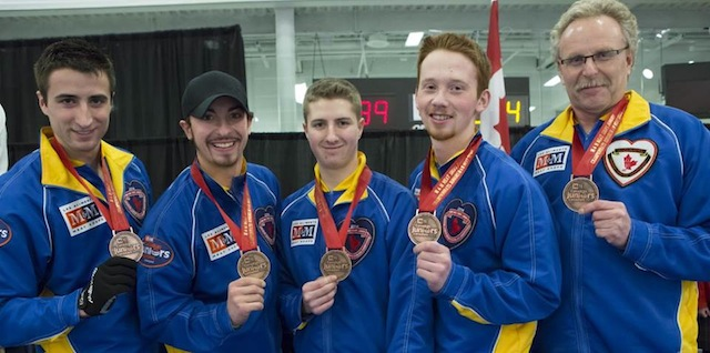 Bronze medallists: Cartner Lautner, Taylor Ardiel, David Aho, Kyle Morrison and Jim Lautner (CCA Photo )