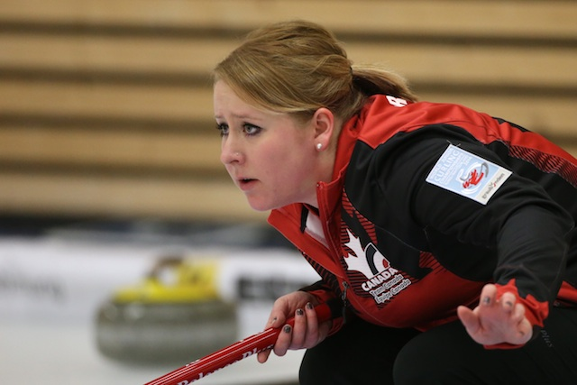 Keely Brown in action at the 2014 World Junior Curling Championships in Flims, Switzerland (Photo WCF/Richard Gray)