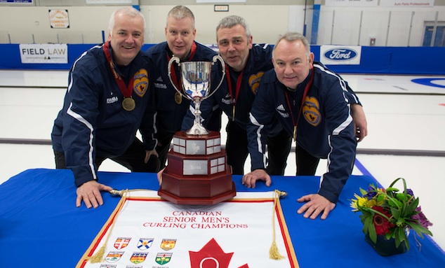 Team Nova Scotia, the 2014 Canadian Senior Curling Champions: skip Alan O'Leary, third Andrew Dauphinee, second Danny Christianson, lead Harold McCarthy (Photo James MacKenzie)